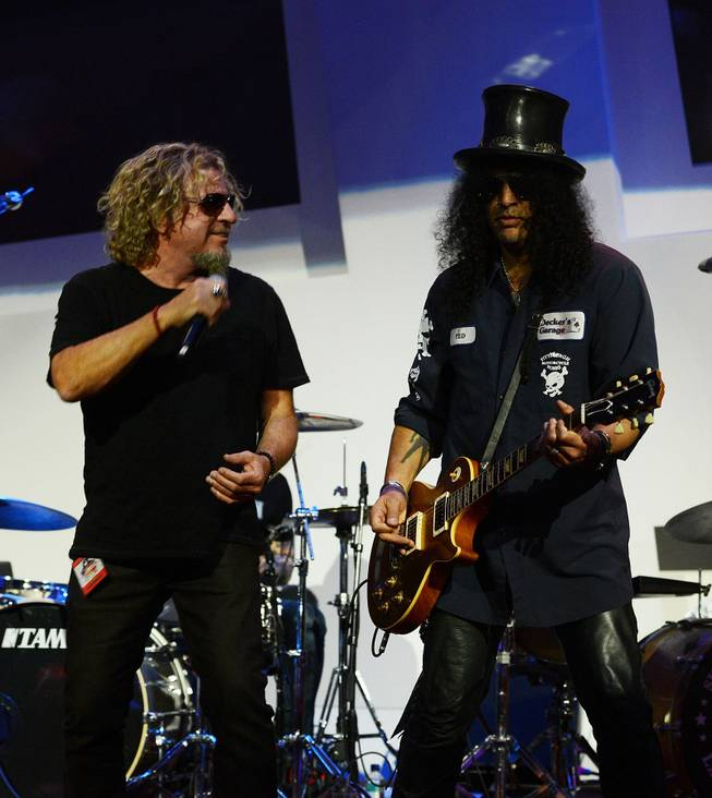 Sammy Hagar and Slash perform during the Kerry Simon Says Fight MSA benefit at Keep Memory Alive event center Thursday, Feb. 27, 2014, in downtown Las Vegas.