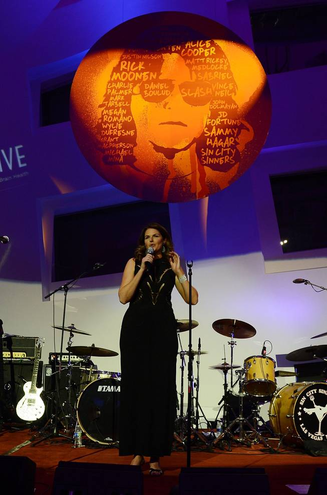 "Elizabeth Blau speaks during the Kerry Simon ""Simon Says Fight MSA"" benefit concert at The Keep Memory Alive Center in Las Vegas on Feb. 27, 2014."