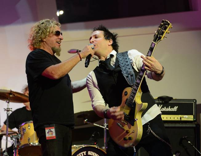 "Sammy Hagar and Sin City Sinners perform during the Kerry Simon ""Simon Says Fight MSA"" benefit concert at The Keep Memory Alive Center in Las Vegas on Feb. 27, 2014."