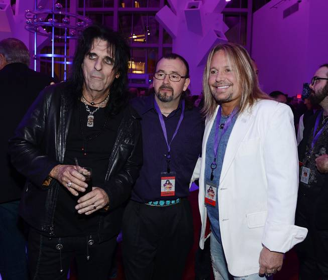 "Alice Cooper, Doug Simon and Vince Neil during ""Simon Says Fight MSA"" benefit concert at The Keep Memory Alive Center in Las Vegas on Feb. 27, 2014."