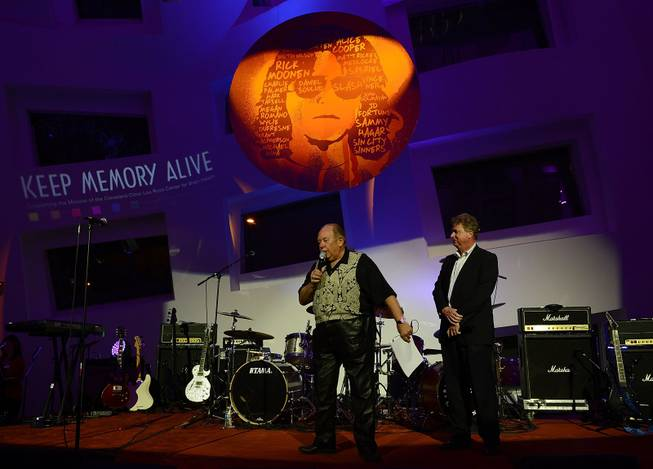 "Robin Leach and Christian Kolberg during the Kerry Simon ""Simon Says Fight MSA"" benefit concert at The Keep Memory Alive Center in Las Vegas on Feb. 27, 2014."