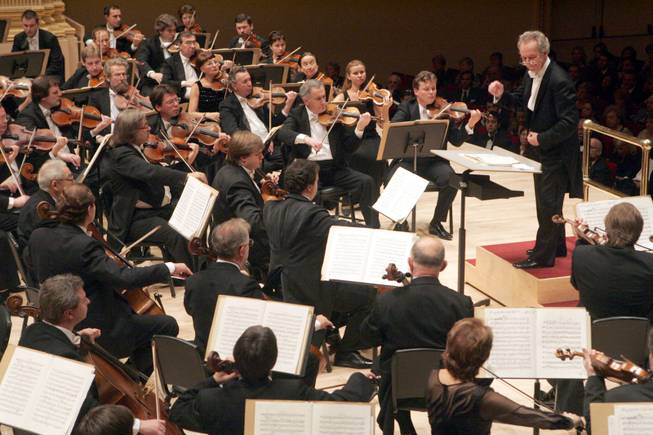 Yuri Temirkanov, artistic director and principal conductor of the St. Petersburg Philharmonic Orchestra, leads the orchestra in the performance of Tchaikovsky's Symphony No. 5, Thursday, Sept. 29, 2005, during opening night at Carnegie Hall in New York.