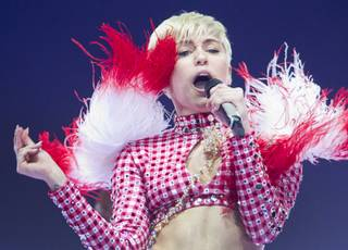 Miley Cyrus performs at MGM Grand Garden Arena on Saturday, March 1, 2014, in Las Vegas.