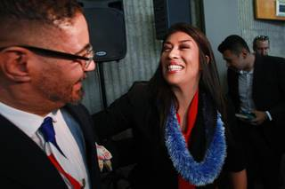 Lucy Flores greets supporter Derek Washington after announcing her candidacy for Lieutenant Governor Saturday, March 1, 2014 at the College of Southern Nevada's Cheyenne campus.