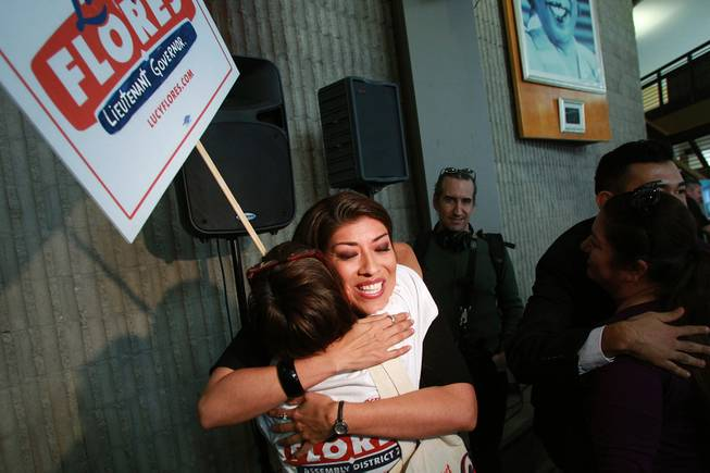 Lucy Flores hugs a supporter after announcing her candidacy for Lieutenant Governor Saturday, March 1, 2014 at the College of Southern Nevada's Cheyenne campus.