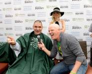 Holly Madison, John Katsilometes and Chet Buchanan support St. Baldrick's Foundation's fundraiser for childhood cancer research Saturday, March 1, 2014, at New York-New York's Brooklyn Bridge.