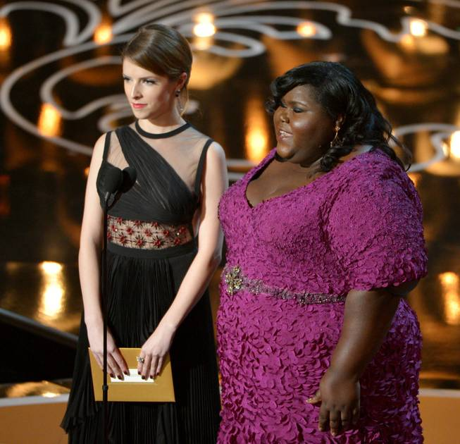 Presenters Anna Kendrick, left, and Gabourey Sidibe speak during the Oscars at the Dolby Theatre on Sunday, March 2, 2014, in Los Angeles.  (Photo by John Shearer/Invision/AP)