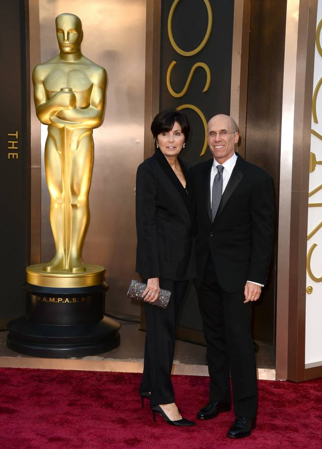 Marilyn Katzenberg, left, and Jeffrey Katzenberg arrive at the Oscars on Sunday, March 2, 2014, at the Dolby Theatre in Los Angeles.  (Photo by Jordan Strauss/Invision/AP)