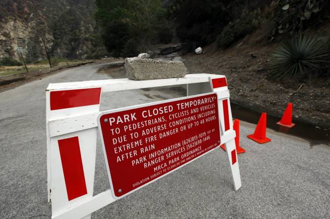River Wilderness Park in San Gabriel Canyon is temporarily closed, one of several areas considered especially at risk in Azusa, Calif., as the city prepared for possible flooding Feb. 27, 2014. Residents of some 1,200 homes in three foothill cities were under evacuation orders due to danger of debris flows from steep slopes burned bare by recent wildfires.