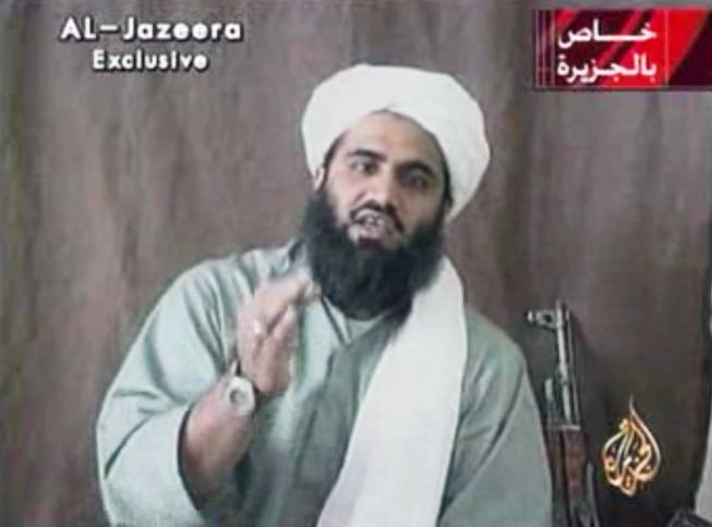 This image made from video provided by by Al-Jazeera shows Sulaiman Abu Ghaith, Osama bin Laden's son-in-law and spokesman.
