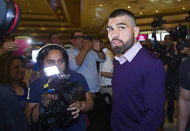 Light middleweight boxers Alfredo Angulo of Mexico arrives at the MGM Grand Tuesday, March 4, 2014. Angulo will take on Canelo Alvarez, also of Mexico, in a non-title, 12-round fight at the MGM Grand Garden Arena on Saturday.