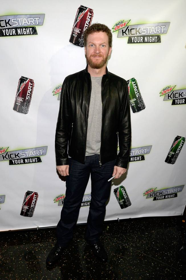 Dale Earnhardt Jr. arrives at the Mountain Dew Kickstart party at Koi on Wednesday, March 5, 2014, in Planet Hollywood.