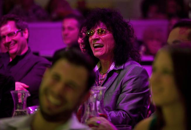 Paul Shortino and others laugh at jokes during Las Vegas Weekly's Unscripted Party featuring Stifler in the Havana Room on Tuesday, March 4, 2014, at the Tropicana.