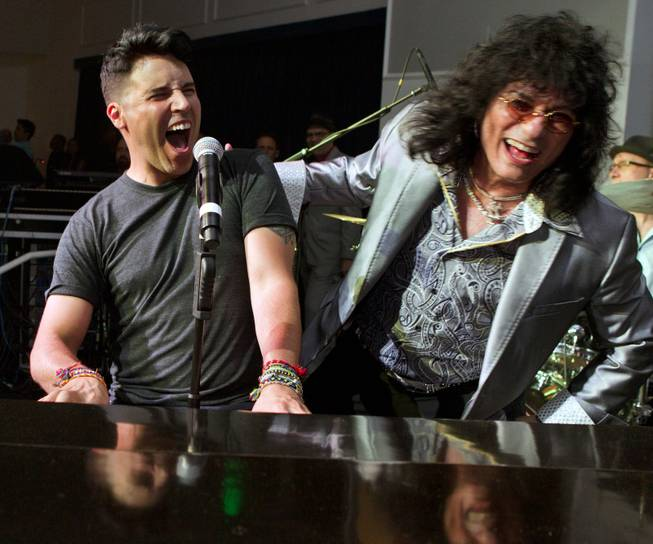 Frankie Moreno and Paul Shortino perform together during Las Vegas Weekly's Unscripted Party featuring Stifler in the Havana Room on Tuesday, March 4, 2014, at the Tropicana.
