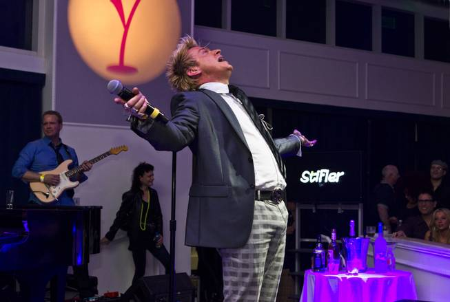 Chris Phillips of Zowie Bowie entertains the crowd during Las Vegas Weekly's Unscripted Party featuring Stifler in the Havana Room on Tuesday, March 4, 2014, at the Tropicana.
