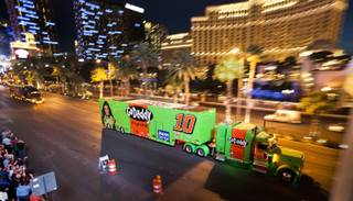 Driver Danica Patrick's NASCAR Hauler is one of many moving up the Las Vegas Strip in celebration for the upcoming Kobalt 400 on Wednesday, March 05, 2014.