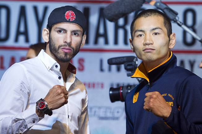 Jorge Linares, left, of Venezuela poses with Nihito Arakawa of Japan during a news conference at the MGM Grand Thursday, March 6, 2014. The lightweight boxers will meet for a 10-round, non-title bout at MGM Grand Garden Arena Saturday. Linares is a former WBC featherweight champion and former WBA super featherweight champion.
