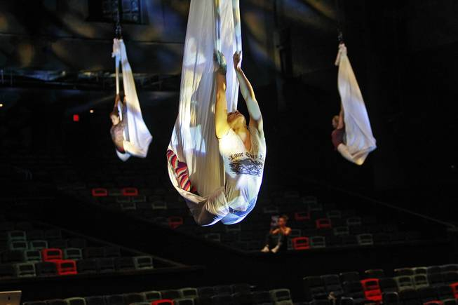 "Aerialists during a rehearsal for the Cirque du Soleil benefit ""One Night for One Drop"" on Thursday, March 6, 2014, at Michael Jackson One Theater in Mandalay Bay."