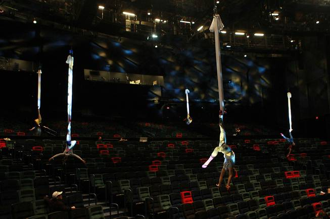 "Aerialists during a rehearsal for the Cirque du Soleil benefit ""One Night 