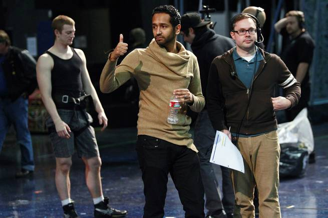 "Creative director Mukhtar O.S. Mukhtar gives a thumbs up during rehearsals for the upcoming Cirque du Soleil benefit ""One Night 