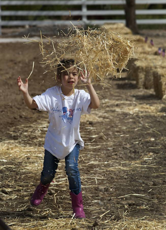 Ruth Wintill, 5 of Las Vegas tosses some hay while attending the Horses4Heroes ribbon-cutting ceremony and grand-opening event at Tule Springs on Thursday, March 06, 2014.