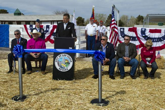Master of ceremonies Steve Schorr welcomes all to the Horses4Heroes ribbon-cutting ceremony and grand- opening event at Tule Springs on Thursday, March 06, 2014.