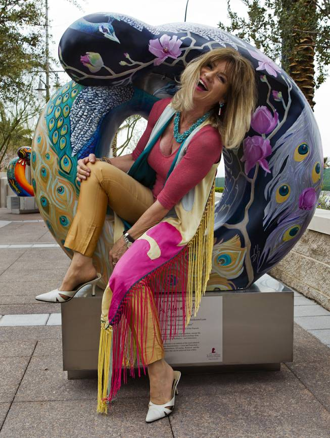 "Artist Beti Kristof with her work ""Wisdom-Beauty-Grace"" joins others as the St. Jude Las Vegas Local Chapter unveils their new 2014 Sculpture Collection titled ""Celebration of Life"" at The Smith Center on Thursday, March 06, 2014."