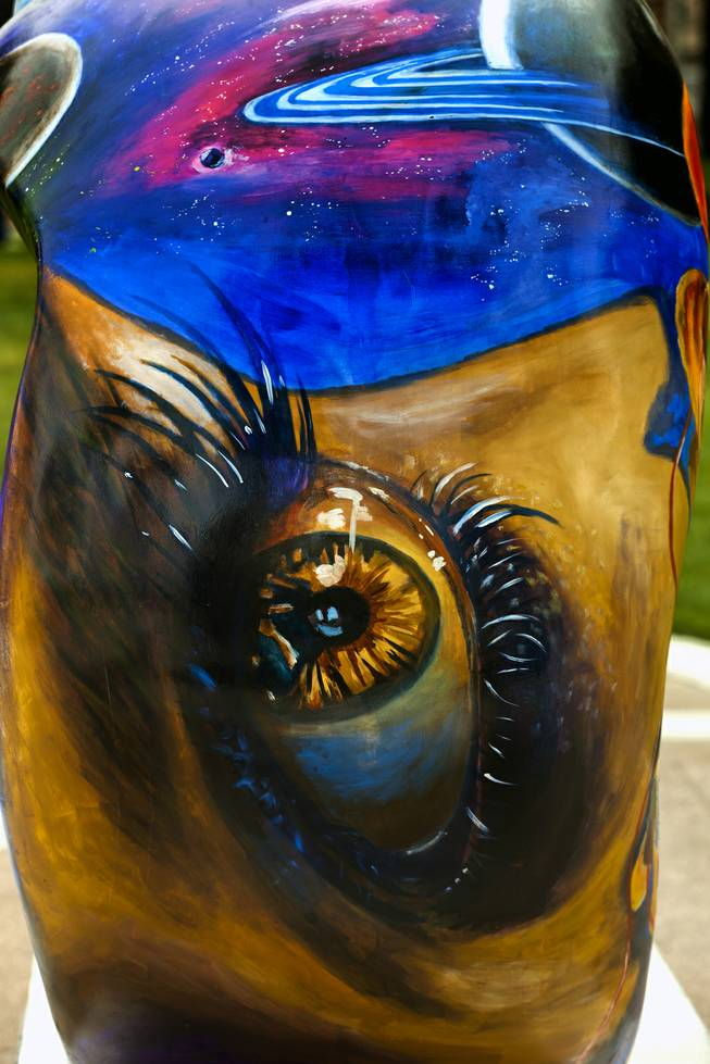 "Artist Armando Flores created this piece ""Eye of truth"" for the St. Jude Las Vegas Local Chapter unveiling of their new 2014 Sculpture Collection titled ""Celebration of Life"" at The Smith Center on Thursday, March 06, 2014."