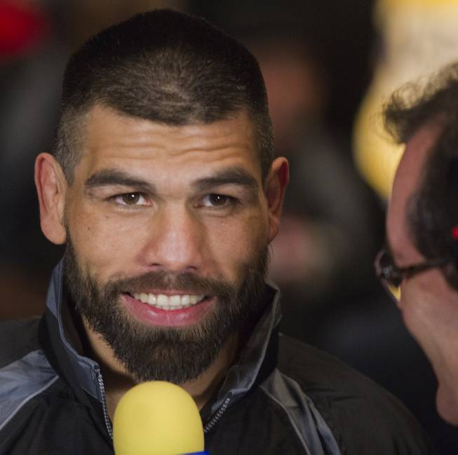 "Alfredo ""El Perro"" Angulo smiles during an interview following his weigh-in at the MGM Grand Arena on Friday, March 07, 2014.  L.E. Baskow"