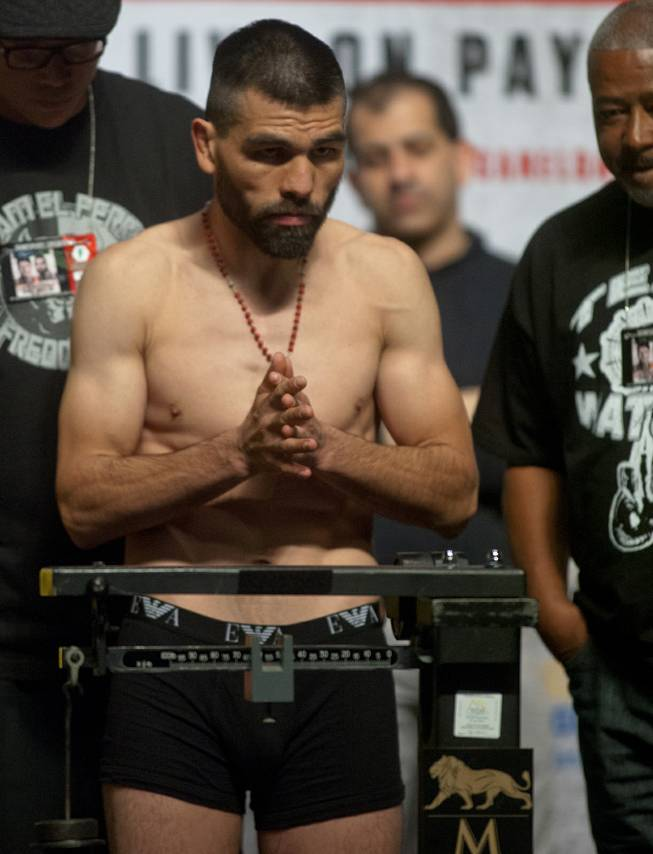 "Alfredo ""El Perro"" Angulo stands focused during his weigh-in at the MGM Grand Arena on Friday, March 07, 2014.  L.E. Baskow"
