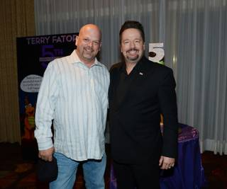 Rick Harrison and Terry Fator at Fator's fifth-anniversary celebration Friday, March 7, 2014, at the Mirage.