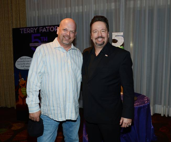 Rick Harrison and Terry Fator at Fator's fifth-anniversary celebration Friday, ...