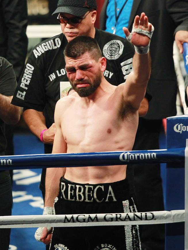 "An emotional Alfredo Angulo waves to fans after his 10th round TKO loss to Saul ""Canelo"" Alvarez at the MGM Grand Garden Arena Saturday, March 8, 2014."