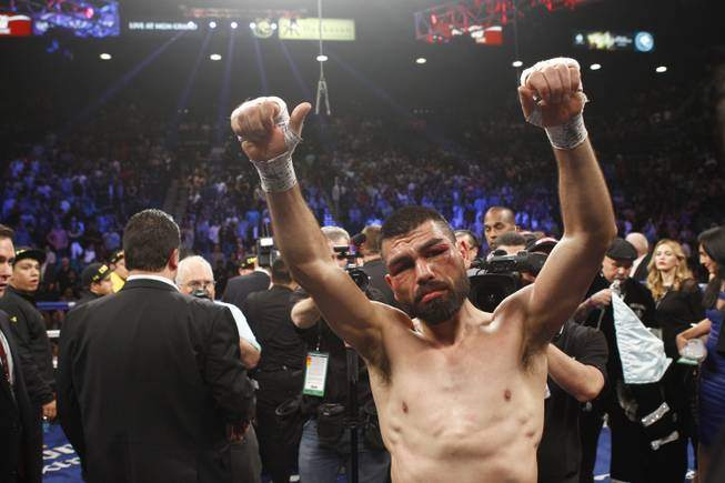 Alfredo Angulo acknowledged the crowd after being defeated by Canelo Alvarez in their super welterweight fight at the MGM Grand Garden Arena on Saturday, March 8, 2014.