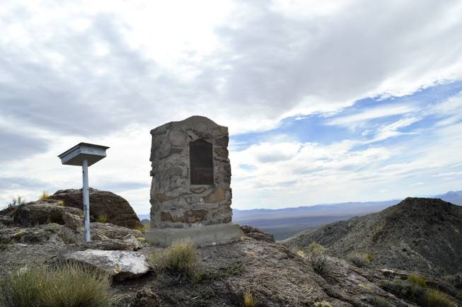 A monument on Hancock Summit off State Route 375, southeast of Rachel, marks the spot of an angelic revelation Maurice Glendenning said he received in 1938. The picture was taken on Monday, March 10, 2014.