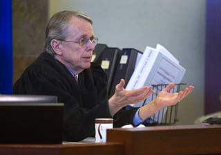 Judge Kenneth Cory speaks to attorneys during a hearing at the Regional Justice Center Tuesday, March 11, 2014. The judge kept a temporary restraining order in place preventing an Animal Foundation raffle of puppies rescued in a  Jan. 27 fire at the Prince and Princess Pet Shop. An evidentiary hearing is scheduled for March 19.