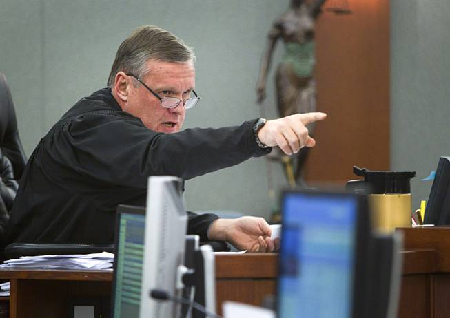 Judge David Barker speaks to attorneys during an arraignment for pet shop owner Gloria Lee and co-defendant Kirk Bills at the Regional Justice Center Wednesday, March 12, 2014. The pair pleaded not guilty to charges of torching the pet shop where 27 puppies were rescued, and a judge rejected a bid for lower bail.