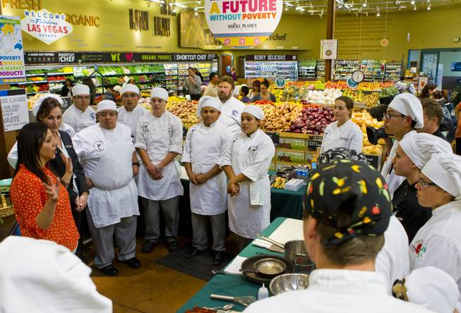 Students are instructed on the competition rules preceding the Culinary Collision at the Whole Foods Market in Town Square on Thursday, March 13, 2014.
