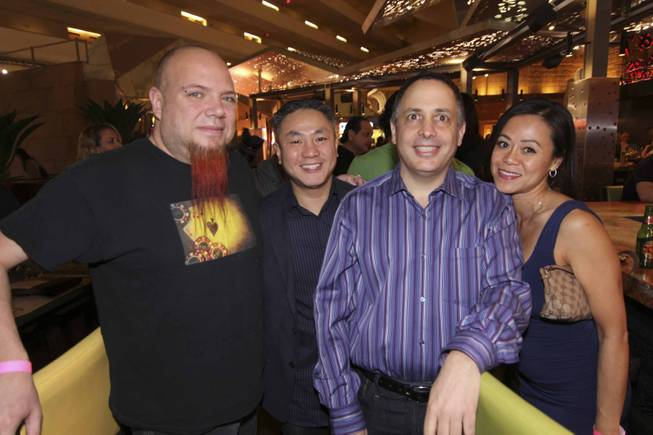 Al Mancini, Tommy Tran, Gorge Bergman and Kathy Tran at the Viva Max! benefit dinner for Max Jacobson hosted at Luxor's Tacos & Tequila restaurant Thursday, March 13, 2014.  All proceeds went toward the recovery of Max Jacobson.