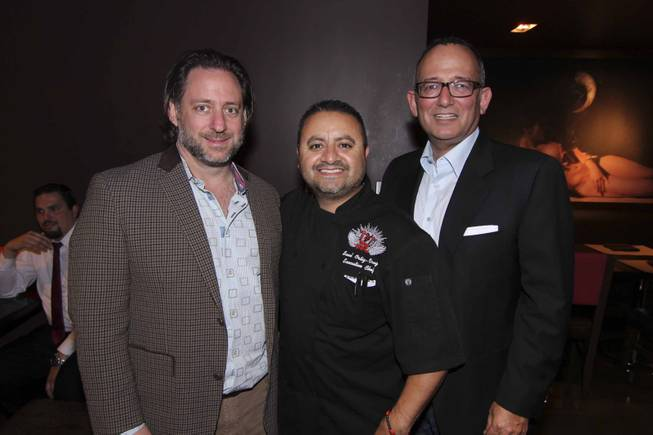 From left: Craig Gilbert, Chef Saul, and Michael Frey at the Viva Max! benefit dinner for Max Jacobson hosted at Luxor's Tacos & Tequila restaurant Thursday, March 13, 2014.  All proceeds went toward the recovery of Max Jacobson.