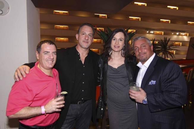 From left: Paul sinowitz, Philip Pizzolato, Debra Pizzaloto, and Chris Picone at the Viva Max! benefit dinner for Max Jacobson hosted at Luxor's Tacos & Tequila restaurant Thursday, March 13, 2014.  All proceeds went toward the recovery of Max Jacobson.