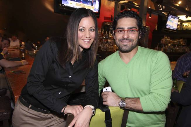 Stephanie Gatsinaris and Corey Nyman at the Viva Max! benefit dinner for Max Jacobson hosted at Luxor's Tacos & Tequila restaurant Thursday, March 13, 2014.  All proceeds went toward the recovery of Max Jacobson.