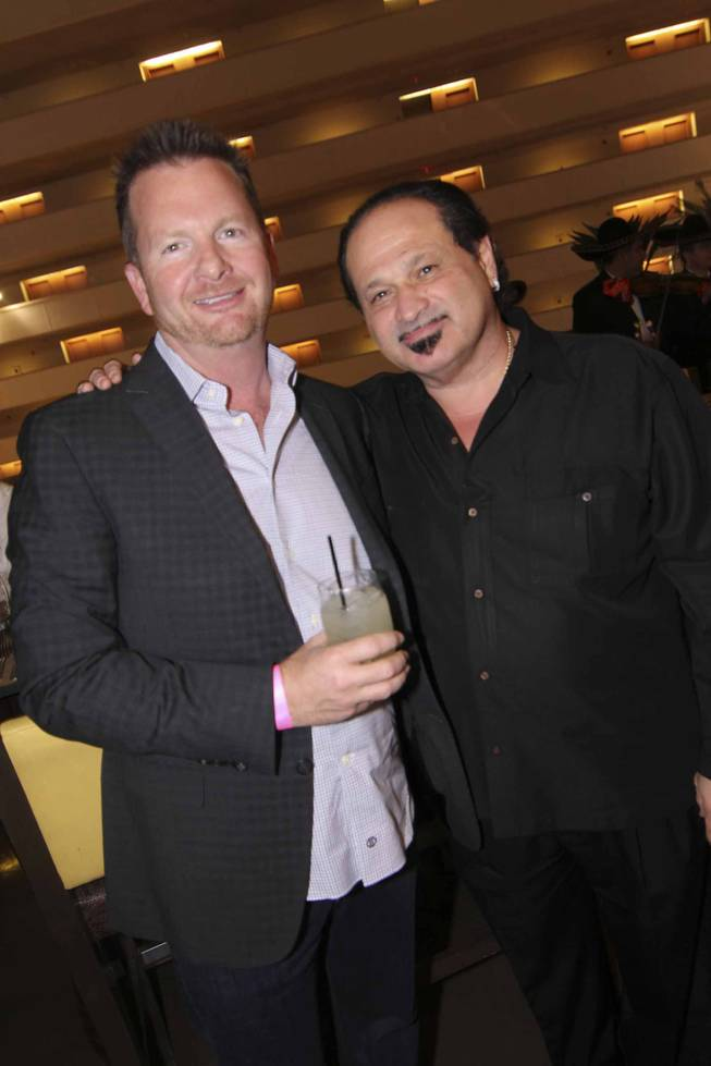Tim Haughinberry and Michael Fayerverger at the Viva Max! benefit dinner for Max Jacobson hosted at Luxor's Tacos & Tequila restaurant Thursday, March 13, 2014.  All proceeds went toward the recovery of Max Jacobson.