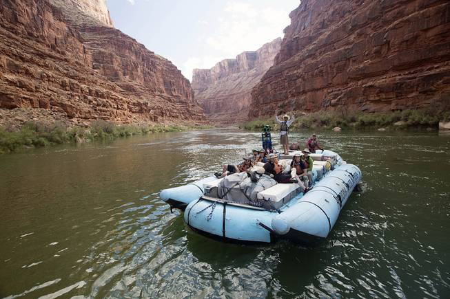 This August 2013 photo shows a frame from a moving time-lapse sequence of images of rafters on the Colorado River in Grand Canyon National Park, Ariz. The imagery went live Thursday, March 13, 2014.
