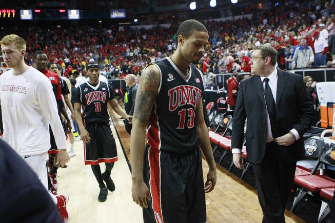 UNLV guard Bryce Dejean Jones heads off the court after their Mountain West Conference semifinal game against San Diego State Friday, March 14, 2014 at the Thomas & Mack Center. The #8 ranked San Diego State Aztecs won 59-51 to advance to the finals.
