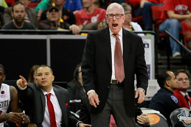 San Diego State coach Steve Fisher yells to his players during their Mountain West Conference semifinal game against UNLV Friday, March 14, 2014 at the Thomas & Mack Center. The #8 ranked San Diego State Aztecs won 59-51 to advance to the finals.