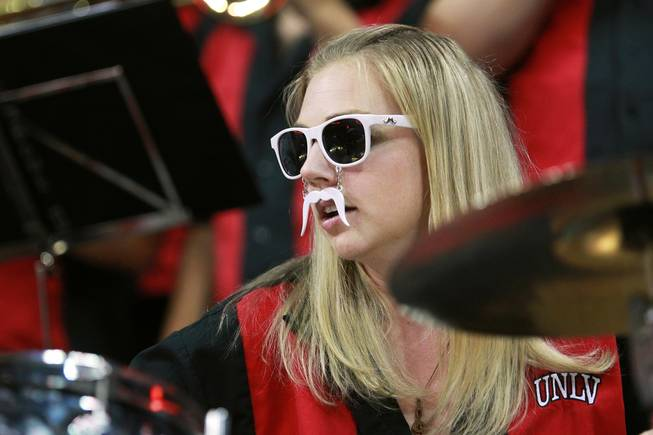 The UNLV pep band drummer performs during their Mountain West Conference semifinal game against San Diego State Friday, March 14, 2014 at the Thomas & Mack Center. The #8 ranked San Diego State Aztecs won 59-51 to advance to the finals.