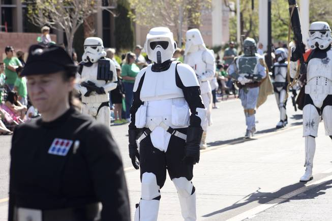 Members of the 501st Chapter of the Neon City Garrison dressed as Star Wars characters for the annual St. Patrick's Day parade in Henderson Saturday, March 15, 2014.