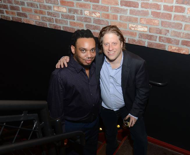 Mark Kelley, bass player for The Roots, and Brooklyn Bowl owner Peter Shapiro at Brooklyn Bowl on Saturday, March 15, 2014, in the Linq.