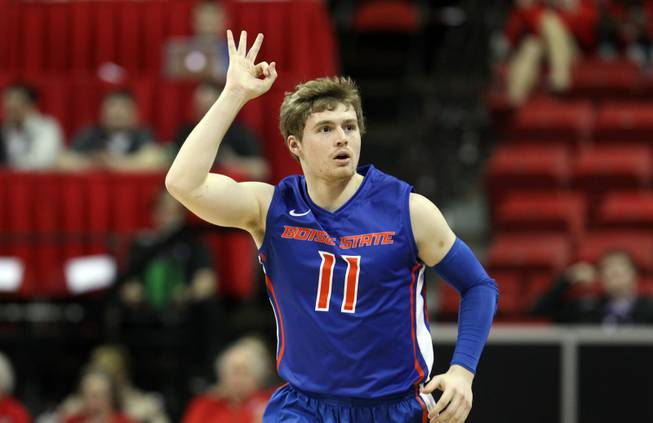 Boise State's Jeff Elorriaga gestures after sinking a 3-point shot during the first half of an NCAA college basketball game against New Mexico in the semifinals of the Mountain West Conference men's tournament Friday, March 14, 2014, in Las Vegas. (AP Photo/Isaac Brekken)